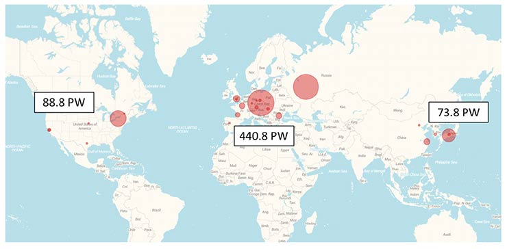 High-power laser facilities that are operational, under construction, or proposed. Figures represent the sum of the peak power of petawatt-class lasers on each continent.