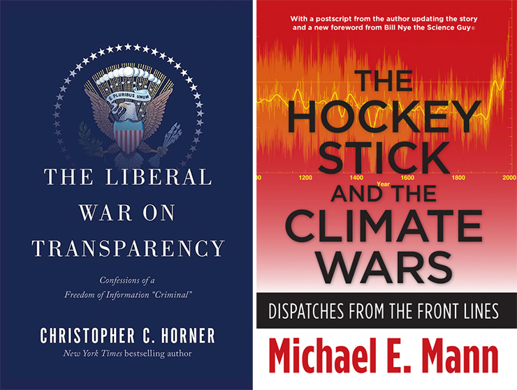 Covers of Christopher Horner's Liberal War on Democracy and Michael Mann's The Hockey Stick and the Climate Wars