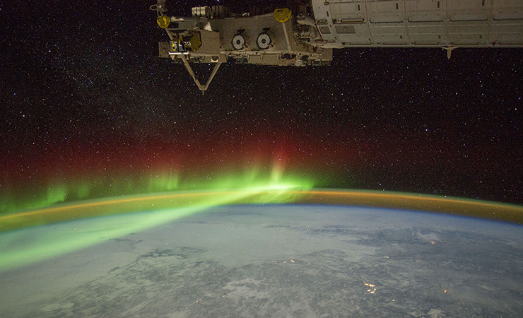 Aurora in the Earth's ionosphere, photographed from the International Space Station.