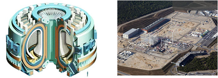 A schematic of the ITER tokamak design, left, and a view of the construction site, right. (Photo credit – Department of Energy)