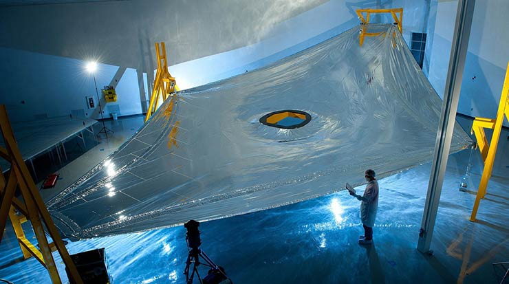 A photograph from 2011 showing a membrane from the James Webb Space Telescope's sunshield on a test fixture.