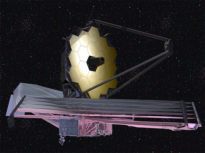 An artist's conception of the James Webb Space Telescope, a large strategic science mission scheduled for launch in 2018.