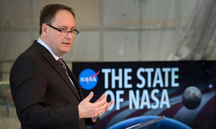 On Feb. 12, Acting NASA Administrator Robert Lightfoot delivered the 2018 State of NASA Address at Marshall Space Flight Center in Huntsville, Alabama.