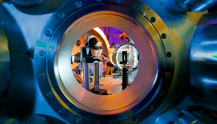 A physicist sets up a target for a petawatt laser experiment at the Jupiter Laser Facility at Lawrence Livermore National Laboratory.