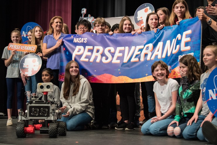 Students at a March 5 ceremony announcing the name for NASA's next Mars rover.