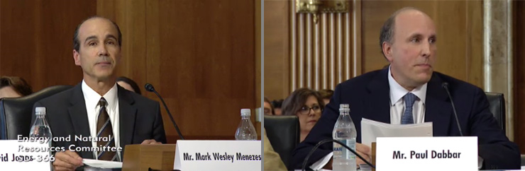 Mark Menezes, left, and Paul Dabbar, the nominees for two key under secretary positions at the Department of Energy, testify at their July 20 confirmation hearing.