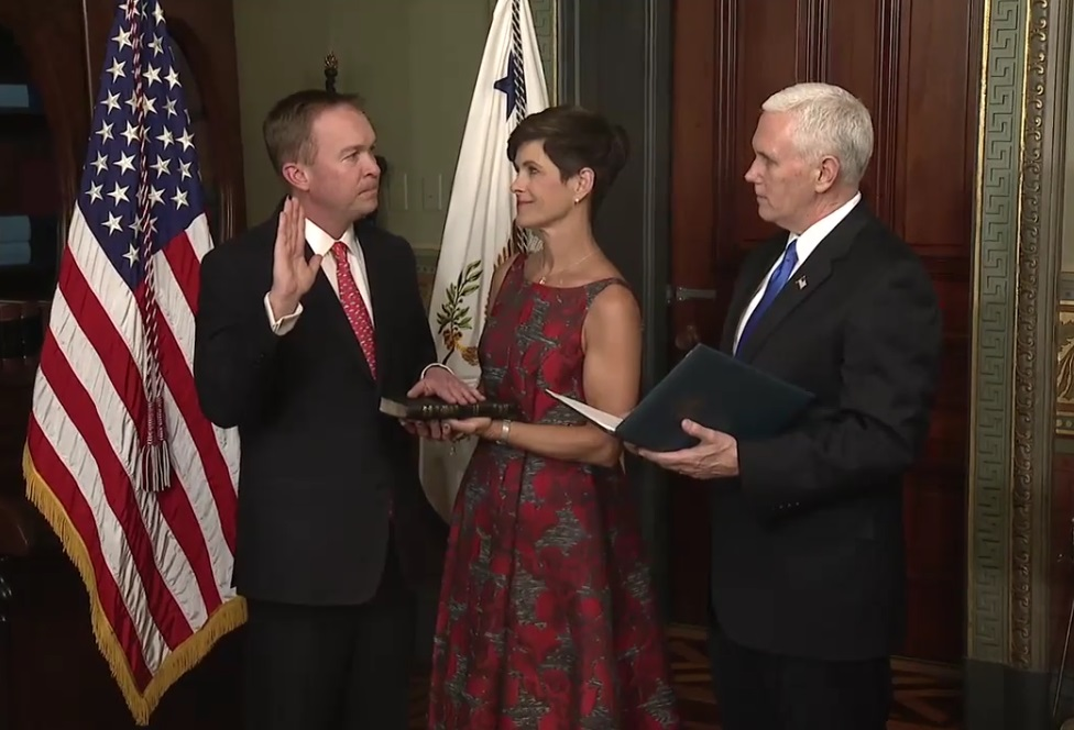 White House Office of Management and Budget Director Mick Mulvaney sworn into office