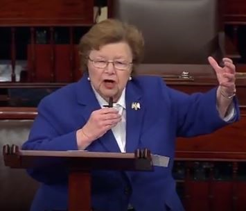 Sen. Barbara Mikulski (D-MD) giving speech on Senate floor