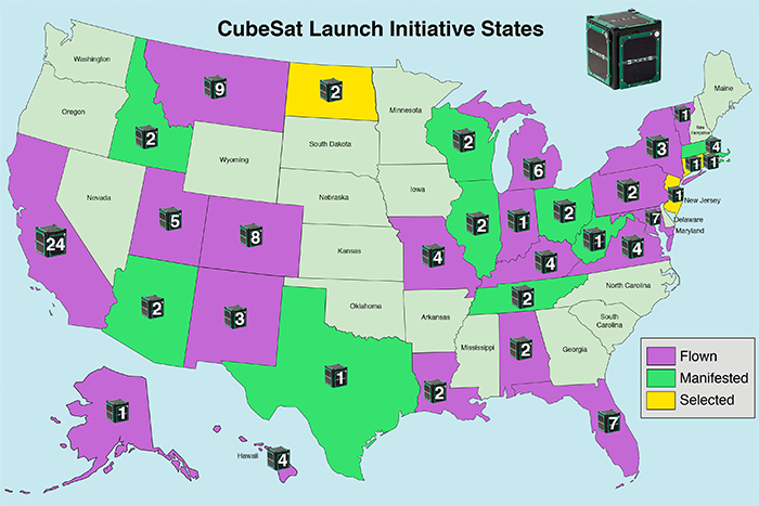 A map of states where CubeSat teams have successfully proposed a project for launch through NASA's CubeSat Launch Initiative.