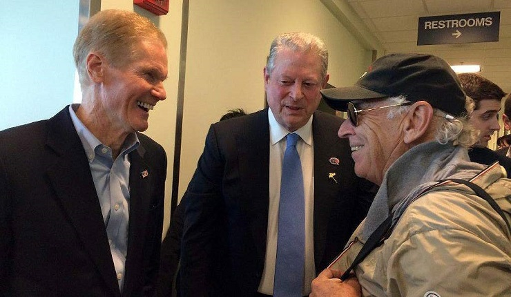 Sen. Bill Nelson (D-FL) accompanied by former Vice President Al Gore and musician Jimmy Buffett, on a trip to the Kennedy Space Center in 2015 to watch the launch of the Deep Space Climate Observatory.