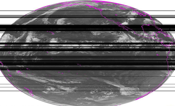 Gaps in satellite weather data caused by radio spectrum interference.