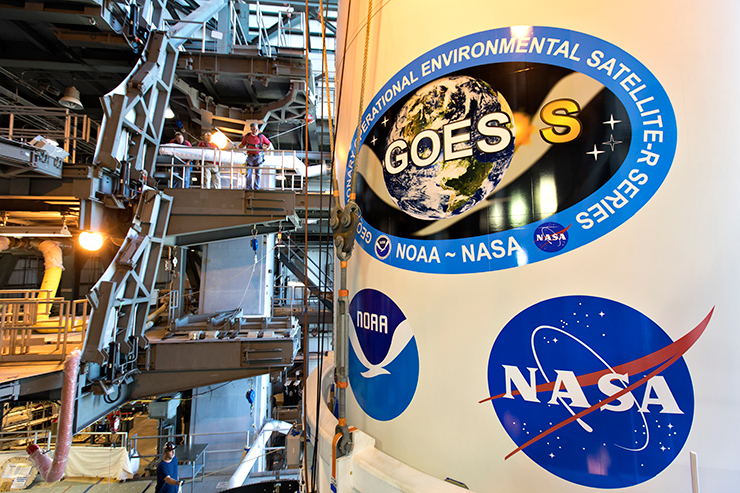 The payload fairing for the GOES-S (GOES 17) satellite, which launched in 2018 and became operational in 2019. NOAA is currently preparing two additional geostationary weather satellites for launch in the first half of the decade.