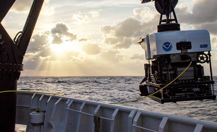 A remotely operated vehicle is recovered after exploring waters off the coast of Florida in November 2019.
