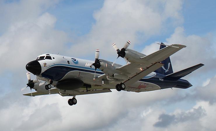 "A NOAA LockheedWP-3D Orion""hurricane hunter"" aircraft."
