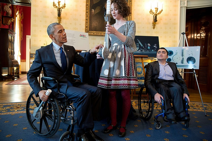 President Obama learns about inventions geared toward wheelchair users during the 2015 White House Science Fair.
