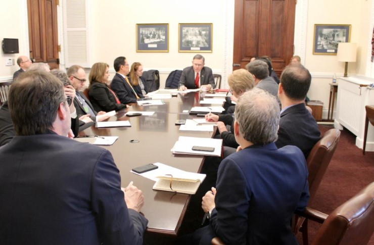 White House Office of Science and Technology Policy Director Kelvin Droegemeier, center, met with publishers on Feb. 6 in the second of a new series of stakeholder meetings on open access policy