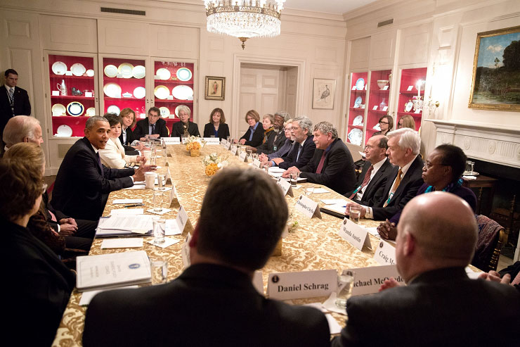President Obama and Vice President Biden meet with PCAST in the White House China Room on Jan. 5.
