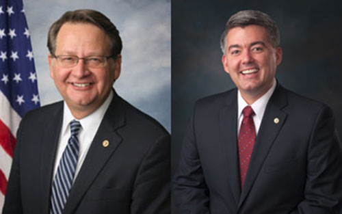 Sens. Gary Peters (D-MI), pictured left, and Cory Gardner (R-CO), pictured right, have been leading the Senate's bipartisan COMPETES drafting efforts.