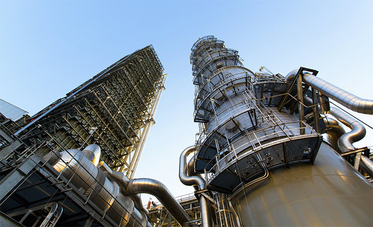 The carbon capture system recently implemented at the Petra Nova coal power plant near Houston.
