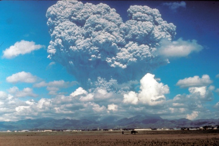 The 1991 eruption of Mount Pinatubo in the Philippines injected aerosols into the stratosphere.