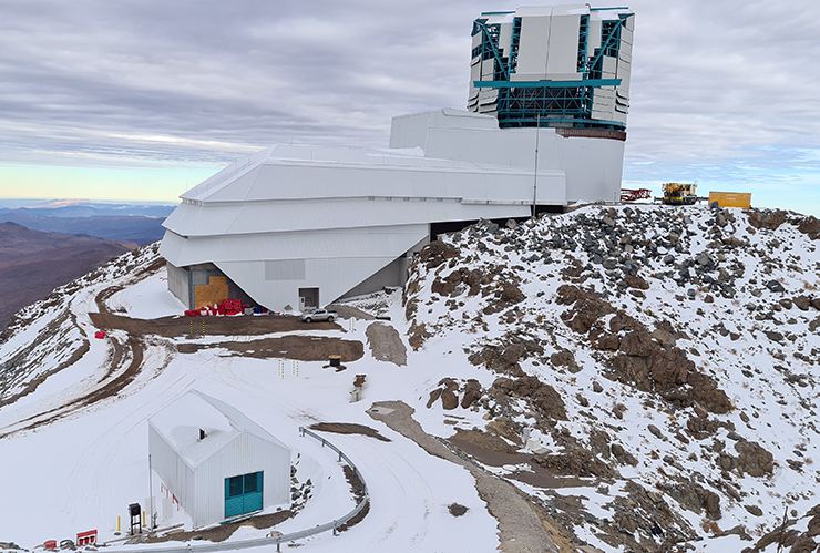 The Vera C. Rubin Observatory photographed in July 2020. The pandemic prevented the construction team from completing the telescope dome before the onset of winter in Chile.