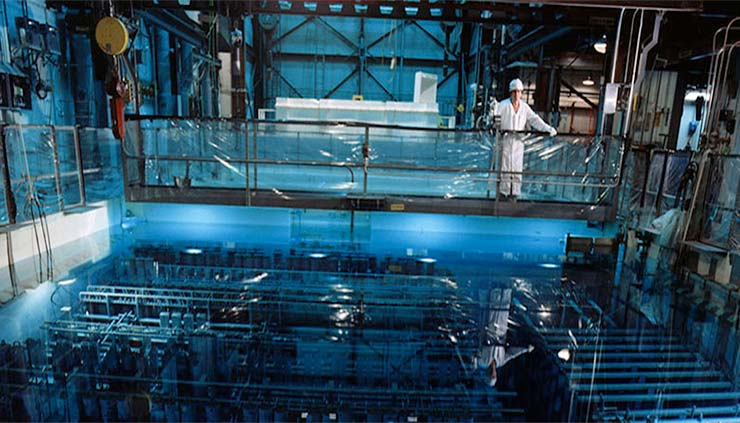 A worker at the receiving basin for offsite fuels at the DOE Savannah River Site