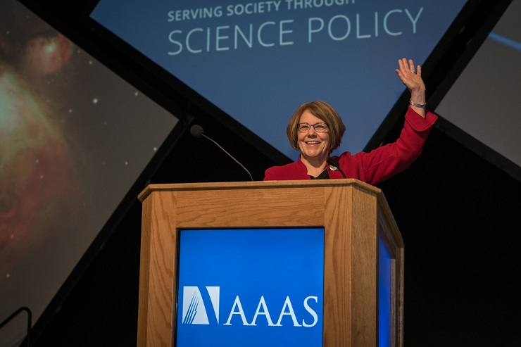 Barbara Schaal greets the audience during her presidential address at the AAAS meeting.