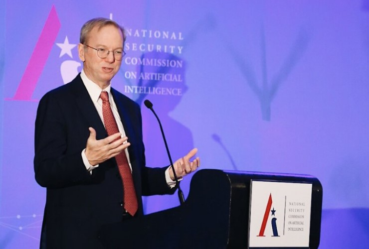 National Security Commission on Artificial Intelligence Chair and former Google CEO Eric Schmidt speaking at a NSCAI conference in 2019.