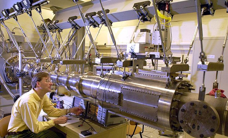Purdue University aerospace engineering professor Steven Schneider works with the university's Mach 6 wind tunnel.