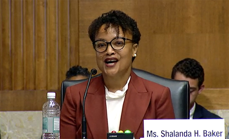 Shalanda Baker testifies before the Senate Energy and Natural Resources Committee on June 8 in support of her nomination to lead the Department of Energy's Office of Economic Impact and Diversity.