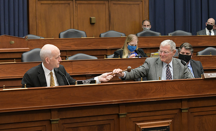 House Armed Services Committee Chair Adam Smith (D-WA) and then-Senate Armed Services Committee Chair Jim Inhofe (R-OK) in November 2020.