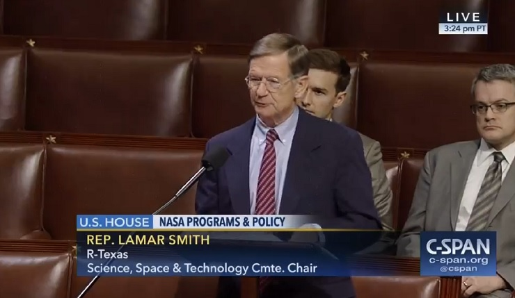 "Rep. Lamar Smith (R-TX) speaks on the House floor in support of the ""NASA Transition Authorization Act."""