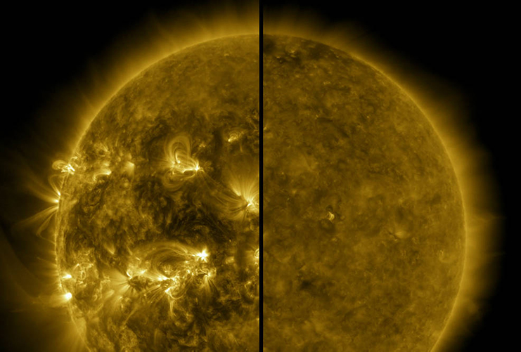 Solar activity is cyclical, with the last solar maximum occurring in April 2014 (left image). NASA reported this month that the next solar maximum is predicted to occur in 2025, with activity ramping up from the last solar minimum in December 2019 (right