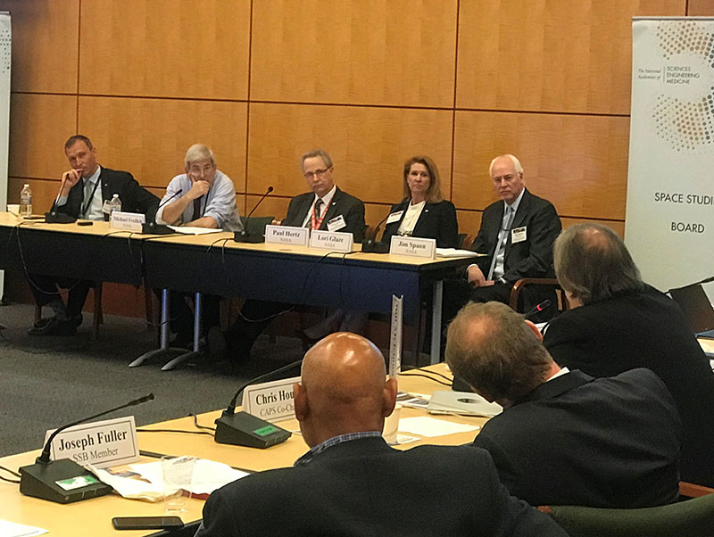 NASA leadership panel at a Space Studies Board meeting
