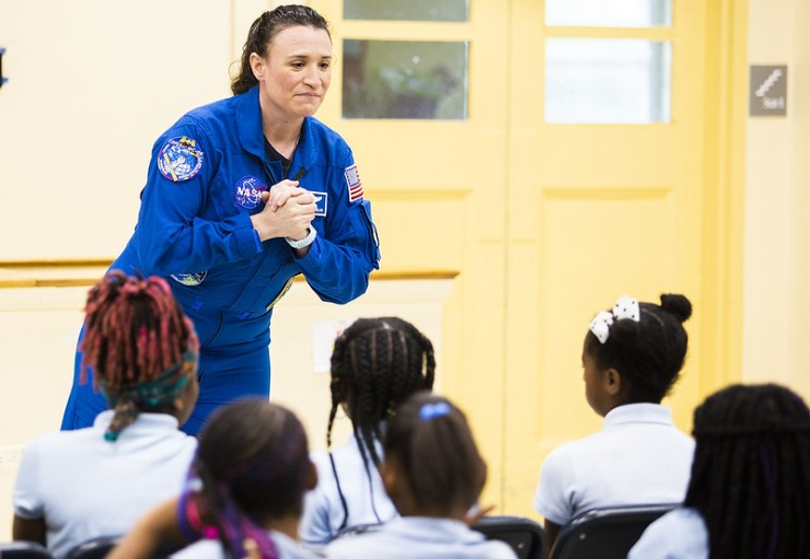 NASA astronaut Serena Auñón-Chancellor describes her experience onboard the International Space Station at Excel Academy Public Charter School in Washington, D.C.