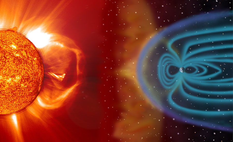 An artist's depiction of space weather produced by the Sun interacting with the Earth's magnetic field