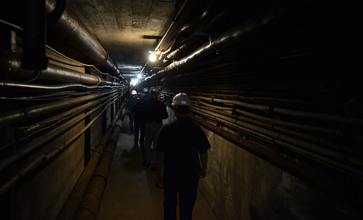 A tunnel at the Sanford Underground Research Facility