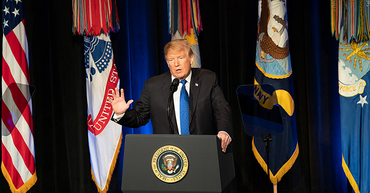 President Trump addresses an audience at the Pentagon during an event marking the release of the Missile Defense Review.