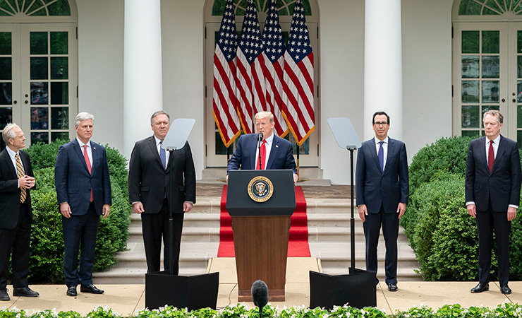 Speaking in the White House Rose Garden on May 29, President Trump announced new restrictions on entry to the U.S. for Chinese graduate students and researchers.