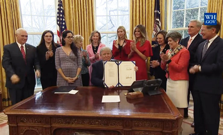 President Trump signs the INSPIRE Women Act and the Promoting Women in Entrepreneurship Act.