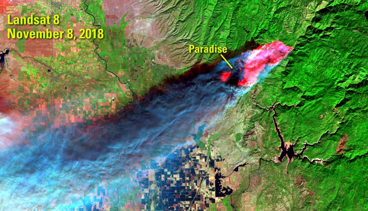 An image of the Camp Fire as it consumes the town of Paradise, California, taken by the Landsat 8 satellite.