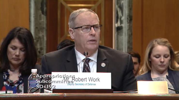 Deputy Defense Secretary Robert Work testifies before the Senate Defense Appropriations Subcommittee.