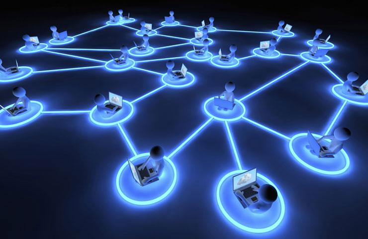 Picture of glowing nodes representing networked computers