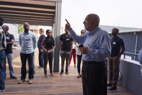 JCSE director Barry Dwolatzky gives a tour of the Tshimologong Digital Innovation Precinct, co-located with the IBM Research – Africa Lab. The precinct was created by JCSE and University of the Witwatersrand.