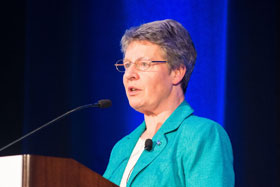 "Honorary congress chair, Dame Jocelyn Bell Burnell, opened PhysCon 2016 with ""Cosmic Fireworks – Finding Transient Events in the Universe."" Photo by Ken Cole"