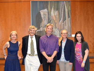 From the left, Surface Tension exhibit curator Sarah Tanguy, and artists Andy Needle, Tom Osgood, Beth Cunningham, and Rebecca Vieyra.