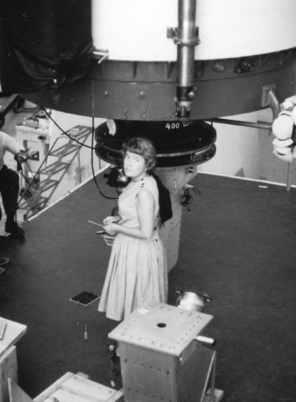 Vera Rubin standing by the Lowell Observatory 72-in telescope <br/>CREDIT: AIP Emilio Segrè Visual Archives, Rubin Collection