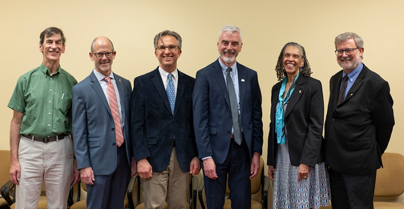 Robert Friedel, Professor, Dept. of History, UMD; Philip Hammer, Interim Director, AIP Foundation; Peter Wien, Interim Chair, Department of History, UMD; Michael Moloney, CEO, AIP; Dean Bonnie Thornton Dill, Arts and Humanities, UMD; Greg Good, Director, Center for History of Physics