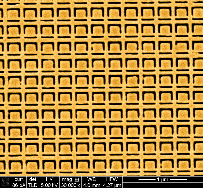 This gold metamaterial nanostructure is a nanoscale version of the structure described by the University of Southampton researchers in Applied Physics Letters, and it exhibits large specular optical activity for oblique incidence illumination with light (rather than specular optical activity for microwaves).