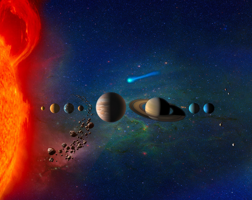 The solar system, illustrated in this artist's conception, contains both large and small objects. Researchers from Duke have proposed a new explanation for why the size diversity exists.